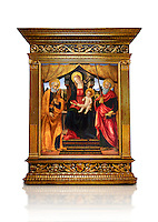 Gothic altarpiece of Madonna and Child with St Peter and Paul by Vicenzo Frediani, circa 1490, tempera and gold leaf on wood.  National Museum of Catalan Art, Barcelona, Spain, inv no: MNAC  64978. Against a white background.