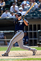 Milwaukee Brewers first baseman Cory Hart #1 swings during the Major League Baseball game against the Chicago White Sox on June 24, 2012 at US Cellular Field in Chicago, Illinois. The White Sox defeated the Brewers 1-0 in 10 innings. (Andrew Woolley/Four Seam Images).