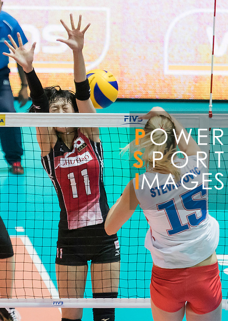 Wing spiker Yurie Nabeya (L) of Japan blocks during the FIVB Volleyball World Grand Prix - Hong Kong 2017 match between Japan and Serbia on 22 July 2017, in Hong Kong, China. Photo by Yu Chun Christopher Wong / Power Sport Images