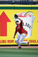 Clearwater Threshers left fielder Damek Tomscha (24) catches a fly ball during a game against the Charlotte Stone Crabs on April 13, 2016 at Bright House Field in Clearwater, Florida.  Charlotte defeated Clearwater 1-0.  (Mike Janes/Four Seam Images)