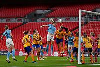1st November 2020; Wembley Stadium, London, England; Womens FA Cup Final Football, Everton Womens versus Manchester City Womens; Sam Mewis of Manchester City Women wins the header  from a Manchester City Women corner kick