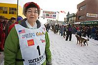 June Leonard widow of Honorary Musher Gene Leonard @ 2006 Iditarod Ceremonial Start Downtown