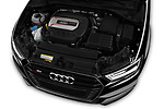 Car stock 2018 Audi S3 Sportback Base 5 Door Hatchback engine high angle detail view