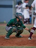 Venice Indians catcher Stephen Deans (14) during a game against the Braden River Pirates on February 25, 2021 at Braden River High School in Bradenton, Florida.  (Mike Janes/Four Seam Images)