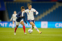 LE HAVRE, FRANCE - APRIL 13: Carli Lloyd #10 of the United States moves towards the goal during a game between France and USWNT at Stade Oceane on April 13, 2021 in Le Havre, France.