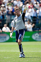 Joe Cannon acknowledges fans after the Earthquakes goal. The San Jose Earthquakes defeated Seattle Sounders FC 4-0 at Buck Shaw Stadium in Santa Clara, California on August 2, 2009.