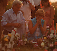 Martin Sheen and Cindy Sheehan grieve at Camp Casey in Crawford Texas.