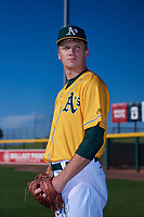 AZL Athletics Gold Austin Wahl (47) poses for a photo before an Arizona League game against the AZL Rangers on July 15, 2019 at Hohokam Stadium in Mesa, Arizona. The AZL Athletics Gold defeated the AZL Rangers 9-8 in 11 innings. (Zachary Lucy/Four Seam Images)