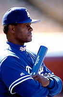 Los Angeles Dodgers Coach Manny Mota participates in a Major League Baseball game at Dodger Stadium during the 1998 season in Los Angeles, California. (Larry Goren/Four Seam Images)