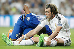 Real Madrid's Gareth Bale (r) and Juventus' Patrice Evra during Champions League 2014/2015 Semi-finals 2nd leg match.May 13,2015. (ALTERPHOTOS/Acero)