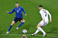Federico Bernardeschi of Italy and Georgi Tunjov of Estonia compete for the ball during the friendly football match between Italy and Estonia at Artemio Franchi Stadium in Firenze (Italy), November, 11th 2020. Photo Andrea Staccioli/ Insidefoto
