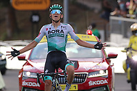 15th September 2020; Lyon, France; Tour De France 2020, La Tour-du-Pin to Villard-de-Lans, stage 16; Lennard Kamna Germany Bora - Hansgrohe celebrates as he crosses the finish line