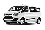 Stock pictures of low aggressive front three quarter view of 2018 Ford Transit-Custom Trend 4 Door Passanger Van Low Aggressive
