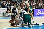 Basketball Real Madrid´s Bourousis (L) and Zalgiris Kaunas´s Javtokas and Jankunas during Euroleague basketball match in Madrid, Spain. October 17, 2014. (ALTERPHOTOS/Victor Blanco)