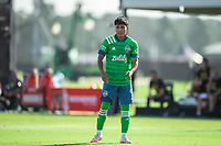 LAKE BUENA VISTA, FL - JULY 14: Raul Ruidiaz #9 of the Seattle Sounders waits for the ball during a game between Seattle Sounders FC and Chicago Fire at Wide World of Sports on July 14, 2020 in Lake Buena Vista, Florida.