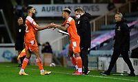 Blackpool's Jordan Gabriel replaces Blackpool's CJ Hamilton as a substitute<br /> <br /> Photographer Chris Vaughan/CameraSport<br /> <br /> The EFL Sky Bet League One - Peterborough United v Blackpool - Saturday 21st November 2020 - London Road Stadium - Peterborough<br /> <br /> World Copyright © 2020 CameraSport. All rights reserved. 43 Linden Ave. Countesthorpe. Leicester. England. LE8 5PG - Tel: +44 (0) 116 277 4147 - admin@camerasport.com - www.camerasport.com