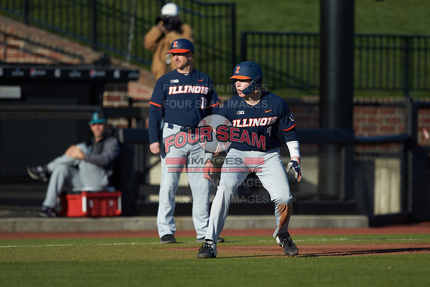 JacobCampbell (9) of the Illinois Fighting Illini takes his lead off of third base against the Coastal Carolina Chanticleers at Springs Brooks Stadium on February 22, 2020 in Conway, South Carolina. The Fighting Illini defeated the Chanticleers 5-2. (Brian Westerholt/Four Seam Images)