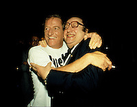 Montreal (QC) CANADA - july  1987 file photo - French comic Raymond Devos at Montreal Juste Pour Rire Festival with Jean Lapointe (L)