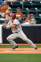 Outfielder Erik Ross #6 of the Oklahoma Sooners bunts against the Texas Longhorns in NCAA Big XII baseball on May 1, 2011 at Disch Falk Field in Austin, Texas. (Photo by Andrew Woolley / Four Seam Images)