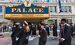 WATERBURY, CT 072421JS16  Graduates make their way into the Palace Theater in Waterbury on Saturday for during Post University graduation ceremonies. This was a commencement for both 2020 and 2021 graduates. <br /> Jim Shannon Republican American