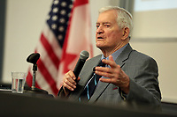 "Former Prime Minister of Canada John Turner speaking with attendees at an event hosted by the Thunderbird School of Global Management titled ""Fierce and Personal: A View on Leadership, Resiliency and US-Canada Free Trade"" ,<br /> 7 February 2018,<br /> at Yount Auditorium at Arizona State University in Glendale, Arizona. <br /> <br /> <br /> PHOTO :   Gage Skidmore"