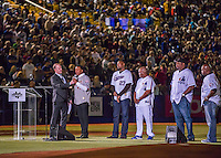 1 April 2016: Baseball Hall of Fame Member, former Boston Red Sox and Montreal Expos pitcher Pedro Martinez addresses the fans during pre-game ceremonies prior to an exhibition game between the Red Sox and the Toronto Blue Jays at Olympic Stadium in Montreal, Quebec, Canada. The Red Sox defeated the Blue Jays 4-2 in the first of two MLB weekend exhibition games, which saw an attendance of 52,682 at the former home on the Montreal Expos. Mandatory Credit: Ed Wolfstein Photo *** RAW (NEF) Image File Available ***