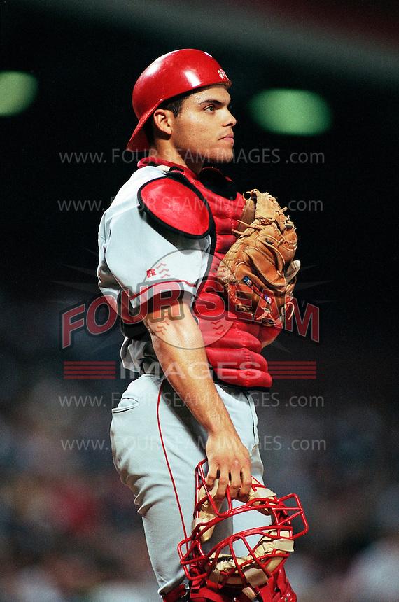 Ivan Rodriguez of the Texas Rangers at Anaheim Stadium in Anaheim,California during the 1996 season. (Larry Goren/Four Seam Images)
