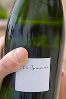 Herve Jestin, oenologist and chief winemaker holding a bottle of champagne Beuverie 1983 vintage that he will disgorge manually Champagne Duval Leroy, Vertus, Cotes des Blancs, Champagne, Marne, Ardennes, France