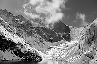 Long's Peak and Chasm Lake in black and white (original in color).  Note the left-most ice structure at the base of the Diamond is mostly gone in this image - I watched it cascade down the wall!