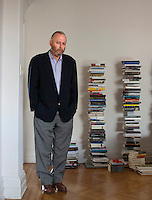 British-American author Christopher Hitchens In his Washington, DC home.   Hitchens is a journalist,  literary critic and a columnist at Vanity Fair, The Atlantic, The Nation, Slate and Free Inquiry.  He was recently  diagnosed with advanced cancer of the esophagus.  A gleeful provocateur, Hitchens is known for his atheism and anti-theism and is an outspoken believer in the enlightenment values of secularism and humanism.