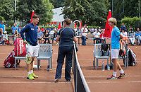 Hilversum, Netherlands, August 8, 2016, National Junior Championships, NJK, Stijn Pel (L) and Roan  Bezooijen at the toss<br /> Photo: Tennisimages/Henk Koster
