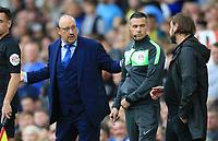 25th September 2021; Goodison Park, Liverpool, England; Premier League football, Everton versus Norwich; Everton manager Rafa Benitez argues with Norwich City manager Daniel Farke