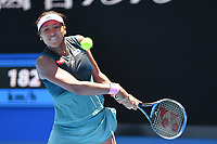 January 21, 2019: 4th seed Naomi Osaka in action in the fourth round match against 13th seed Anastasija Sevastova on day eight of the 2019 Australian Open Grand Slam tennis tournament in Melbourne, Australia. Osaka won 46 63 64. Photo Sydney Low