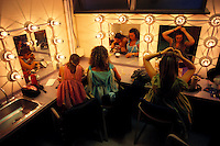 Student actresses in dressing room