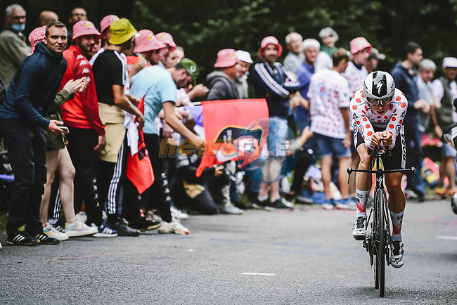 Polka Dot Jersey Ide Schelling (NED) Bora-Hansgrohe in action during Stage 5 of the 2021 Tour de France, an individual time trial running 27.2km from Change to Laval, France. 30th June 2021.  <br /> Picture: A.S.O./Pauline Ballet   Cyclefile<br /> <br /> All photos usage must carry mandatory copyright credit (© Cyclefile   A.S.O./Pauline Ballet)