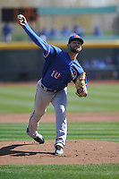 Round Rock Express starting pitcher Nick Martinez (10) throws against the Omaha Storm Chasers at Werner Park on April 12, 2016 in Omaha, Nebraska.  The Express won 6-4.  (Dennis Hubbard/Four Seam Images)