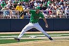 June 4, 2021; John Michael Bertrand (28) pitches against Central Michigan in the first game of the NCAA Tournament at Frank Eck Stadium. Notre Dame won 10-0.  (Photo by Barbara Johnston/University of Notre Dame)