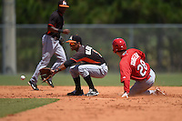 Miami Marlins Iramis Olivencia (1) catches a throw as Casey Turgeon (28) slides in during a minor league spring training game against the St. Louis Cardinals on March 31, 2015 at the Roger Dean Complex in Jupiter, Florida.  (Mike Janes/Four Seam Images)
