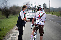 Stan Dewulf (BEL/AG2R Citroën) crashed out of the race; unlucky #13<br /> <br /> 85th La Flèche Wallonne 2021 (1.UWT)<br /> 1 day race from Charleroi to the Mur de Huy (BEL): 194km<br /> <br /> ©kramon