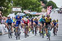 Danny Van Poppel (NED/Lotto NL-Jumbo) wins the close sprint before  Fabio Jakobsen (NED/Quick Step Floors) and Sean De Bie (BEL/Veranda's WIllems Crelan)<br /> <br /> 71th Halle Ingooigem 2018 (1.1)<br /> 1 Day Race: Halle > Ingooigem (197.7km)