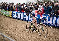 Lucinda Brand (NED/Telenet-Baloise Lions) over the bridge<br /> <br /> Women's Race<br /> UCI cyclocross WorldCup - Koksijde (Belgium)<br /> <br /> ©kramon