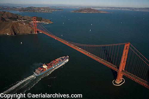 aerial photograph of a MOL container ship approaching the Golden Gate bridge, San Francisco, California