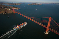 aerial photograph of a MOL container ship approaching the Golden Gate bridge, San Francisco, California
