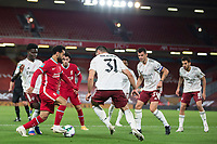 1st October 2020; Anfield, Liverpool, Merseyside, England; English Football League Cup, Carabao Cup, Liverpool versus Arsenal; Mohammed Salah of Liverpool takes on Sead Kolasinac of Arsenal