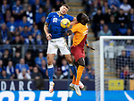 St Johnstone v Galatasaray…12.08.21  McDiarmid Park Europa League Qualifier<br />Liam Gordon and Mbaye Diagne<br />Picture by Graeme Hart.<br />Copyright Perthshire Picture Agency<br />Tel: 01738 623350  Mobile: 07990 594431