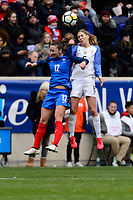 Harrison, NJ - Sunday March 04, 2018: Gaëtane Thiney, Morgan Brian during a 2018 SheBelieves Cup match match between the women's national teams of the United States (USA) and France (FRA) at Red Bull Arena.