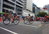 Pure Black Racing's Glen Chadwick leads Subway Pro Cycling's Paul Odlin. Trust House Wellington Cycle Classic Stage 5 - Criterium at Lambton Quay, Wellington, New Zealand on Sunday, 30 January 2011. Photo: Dave Lintott / lintottphoto.co.nz