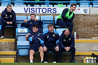 Oxford United Manager, Karl Robinson and his coaching staff find something amusing during Gillingham vs Oxford United, Sky Bet EFL League 1 Football at the MEMS Priestfield Stadium on 10th October 2020
