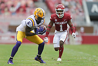 Arkansas defensive back Jalen Catalon (1) covers LSU wide receiver Terrace Marshall Jr. (6), Saturday, November 21, 2020 during the third quarter of a football game at Donald W. Reynolds Razorback Stadium in Fayetteville. Check out nwaonline.com/201122Daily/ for today's photo gallery. <br /> (NWA Democrat-Gazette/Charlie Kaijo)