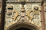 Cambridge University UK St Johns College Great Gate entrance Coat of Arms of the Foundress Lady Margaret Beaufort in 1516